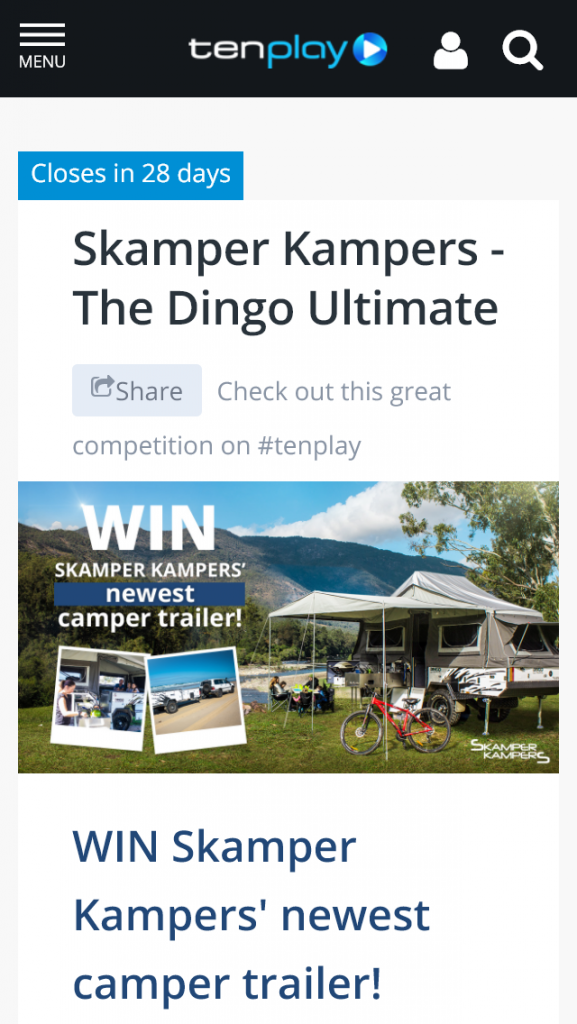 Channel Ten – Win Skamper Kampers' Newest Camper Trailer (prize valued at  $25,500)
