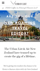 The Urban List  Air New Zealand – Win A Trip To Argentina with Air New Zealand – Buenos Aires (prize valued at $8,000)