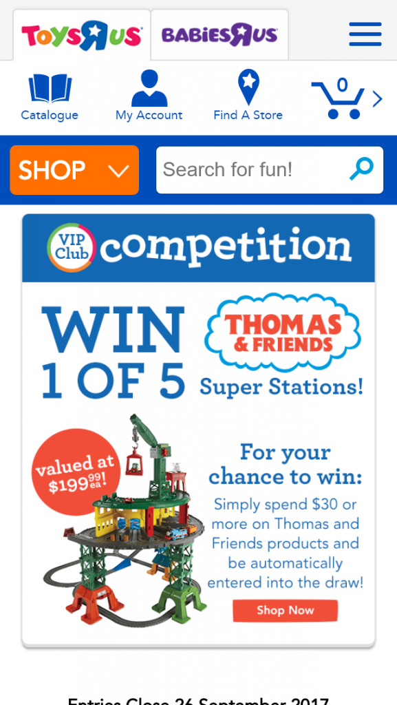 ToysRUs – Win 1 of 5 Super Stations valued at $199 ea  (prize valued at $199.99)