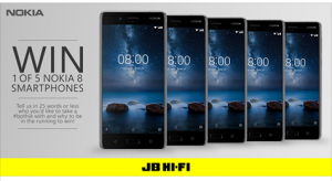 JB Hi-Fi – Win 1 of 5 brand new Nokia 8 smartphones (Steel) valued at $899 each
