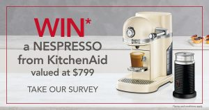 KitchenAid Australia – Online Survey – Win a KitchenAid Nespresso Machine in Almond Cream colour valued at $799