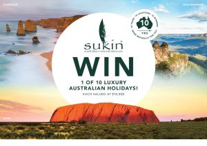 Network Ten – Sukin 10 Year Celebration – Win 1 of 10 Luxury Australian Holiday Packages valued at up to $11,000