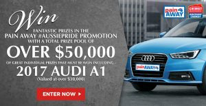 Pain Away Australia – #Aussiepride – Win an Audi A1 Motor Vehicle valued at $30,000 OR 1 of 10 Woolworths Shopping Vouchers PLUS 100 other prizes