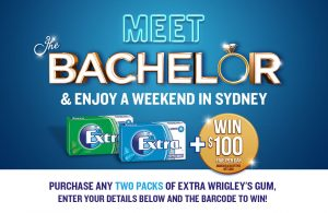 The Wrigley Company – Extra Bachelor WW 2017 – Win a Bachelor VIP trip to Sydney for 4 valued at $18,250 OR 1 of 5 Instant win prizes
