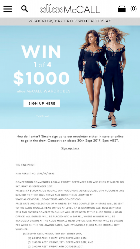 Alice McCall – Win 1 Of 4 Alice Mccall Wardrobes Valued At $1000 (prize valued at  $4,000)