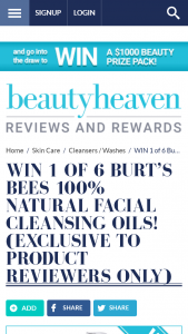 Beauty Heaven – Win 1 Of 6 Burt's Bees 100% Natural Facial Cleansing Oils (prize valued at  $210)