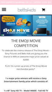 Betts Kids – Win An Awesome Major Prize Valued At $2000
