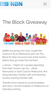 Channel 9 – NBN – The Block – Win a Trip for Two (2) Adults to Melbourne (prize valued at $2,500)
