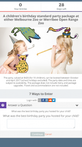 Child Magazines Melbourne – Win A Birthday Party At Melbourne Zoo  (prize valued at $420)
