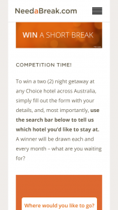 Choice Hotels – Win A Two (2) Night Getaway At Any Choice Hotel Across Australia (prize valued at  $2,500)