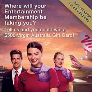 Entertainment book – Win A $500 Virgin Australia Gift Card Card