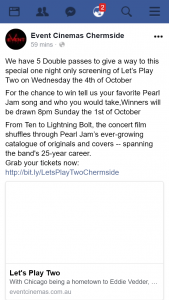 Event Cinemas Chermside – Win One of Five Double Passes to See Pearl Jam's Let's Play Two Special Screening Drawn @8pm