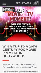 Fox Movies – Win a Trip to a 20th Century Fox Movie Premiere In Hollywood (prize valued at $8,850)