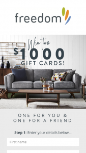 Freedom – Win Two $1000 Gift Cards (prize valued at  $2,000)