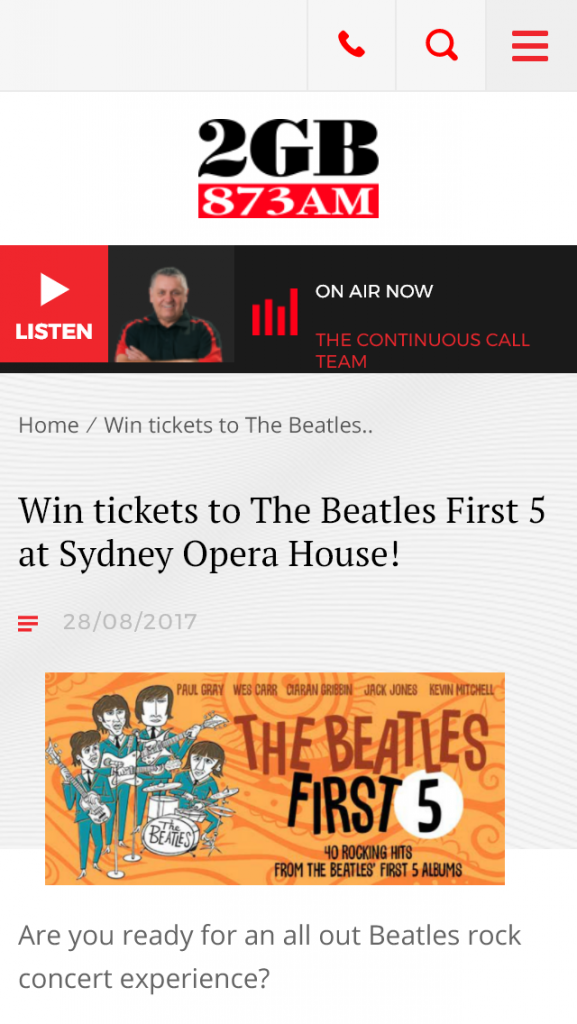 2GB – Win 1 0f 5 Dp To The Beatles First 5 At Sydney Opera House
