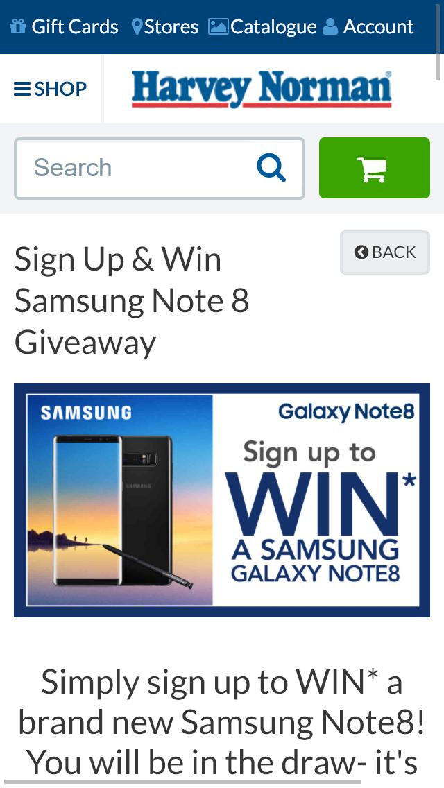 Harvey Norman – Win A Galaxy Samsung Note 8 Smart Phone (pri   Australian Competitions
