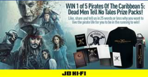JB HiFi – Win 1 Of 5 'pirates Of The Caribbean 5 Dead Men Tell No Tales' Prize Packs