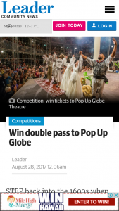 Leader Community News – Win Double Pass to Pop Up Globe (prize valued at $200)