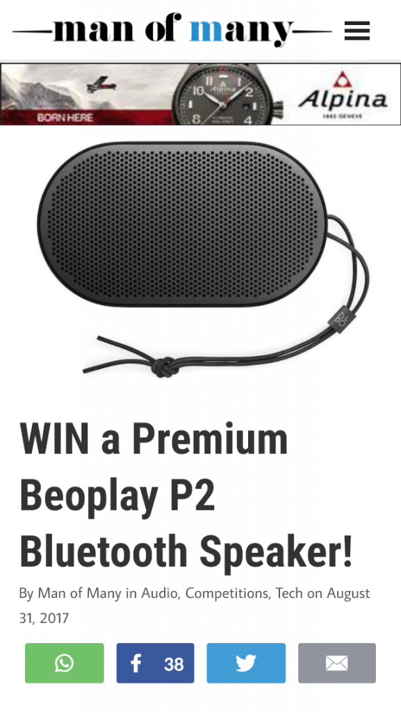 Man of Many Tastes – Win A Premium Beoplay P2 Bluetooth Speaker (prize valued at  $249)