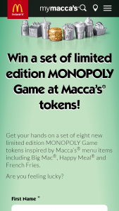 McDonalds – Win A Set Of Limited Edition Monopoly Game At Macca's Tokens
