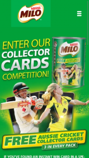 Milo Collector Cards – Win A Milo Ashes Experience (prize valued at  $95,000)