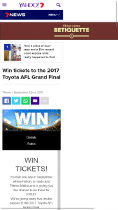 7 News Melbourne – Win 1 of 5 Double Passes to The 2017 Toyota AFL Grand Final (prize valued at $4,738)
