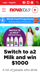 NovaFM Switch to a2 Milk for your chance to – Win $1000 Cash (prize valued at  $2,000)