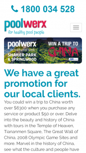 Poolwerx – Springwood  Shailer Park – Win A Trip To China (prize valued at $6,398)