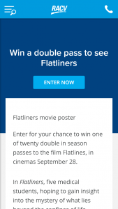 RACV – Win One Of Twenty Double In Season Passes To The Film Flatlines (prize valued at  $880)