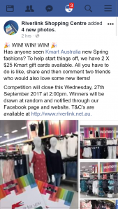 Riverlink Shopping Centre Ipswich – Win One of Two $25 Kmart Cards (prize valued at $50)