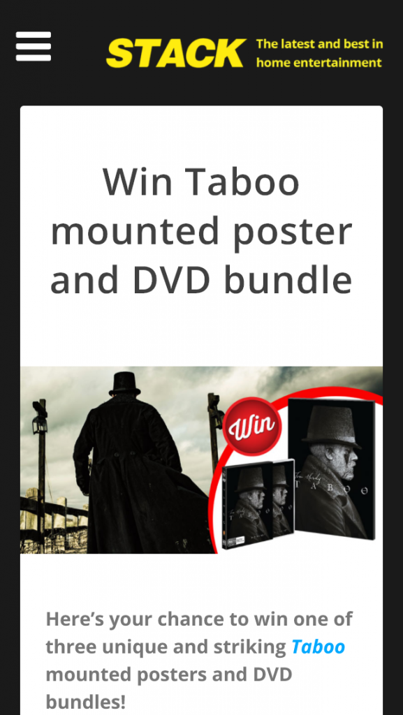 Stack Magazine – Win Taboo Mounted Poster And Dvd Bundle