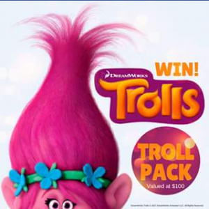 Sunnybank Hills Shoppingtown – Win 1 Of 2 Trolls Gift Packs Valued At $100 Each (prize valued at $100)