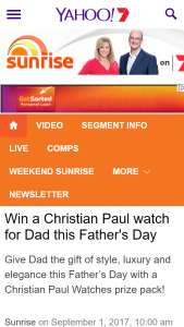 Channel 7 – Sunrise Family – Win A Christian Paul Watch For Dad This Father's Day