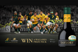 Taylors Wines – Win Wallabies Merchandise on Pack (prize valued at $4,131)