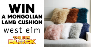 Channel Nine – The Block – Win 1 Of 5 Mongolian Lamb Cushions  (prize valued at $1,950)