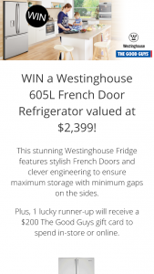 The Good Guys – Win A Westinghouse' Facebook Competition (prize valued at $2,399.00)