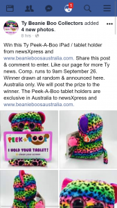 Ty beanie boo collectors – Win a Ty Peek-A-Boo Ipad/tablet Holder