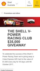 Viva Energy / SHELL V – Win A $1000 Coles (prize valued at  $35,000)