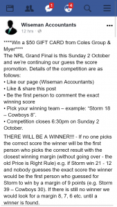 Wiseman Accountants – Win a $50 Gift Card From Coles Group & Myer (prize valued at $50)