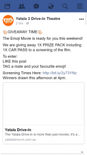 Yatala 3 Drive-In Theatre – Win a Car Pass to See The Emoji Movie this Weekend Drawn @4pm
