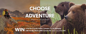 Ted's Camera Stores – Olympus, Yukon Tourism & Adventure World Travel – Win a trip for 2 to Whitehorse, Yukon, Canada plus camera kit valued at to $12,100