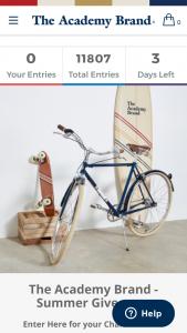 Academy Brand Summer Giveaway – Win a $500 Academy Brand Wardrobe Surfboard Skateboard & Bike