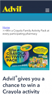Advil – Win a Crayola Activity Pack (prize valued at $105)