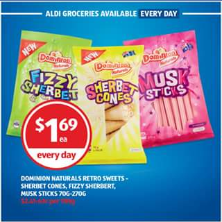 Aldi Australia – Win Some Sweet Retro Treats (prize valued at $1.69)