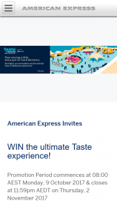 American Express – Win The Ultimate Taste Experience (prize valued at $7,000)