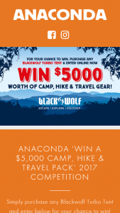 Anaconda Stores – Win a $5000 Camp (prize valued at $5,000)