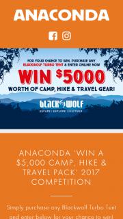 Anaconda Stores – Win a $5000 Camp (prize valued at $5,000)
