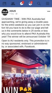 ASUS – Win a Double Pass for Entire Weekend to Pax Australia