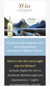 Babich Wines – Win a Trip to New Zealand With Babich Wines Promotion