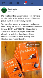 Booktopia – Win a Signed Copy of Tom Hanks Uncommon Type Book